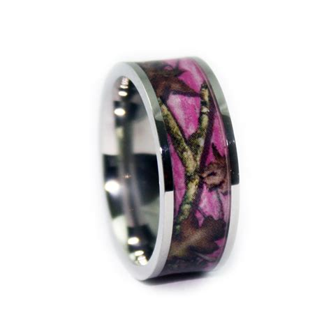 pink band pink camo wedding rings flat titanium camouflage band by
