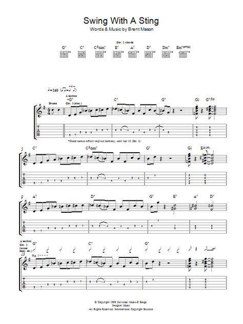 swing tab swing with a sting by brent mason guitar tab guitar