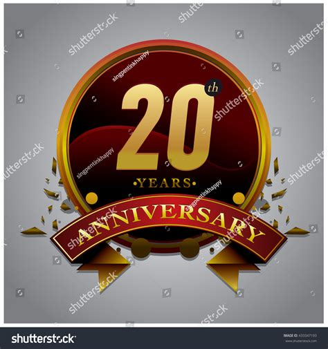 20th anniversary color 20th anniversary logo with gold circle badge anniversary