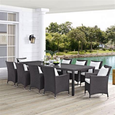 modway convene wicker 11 rectangular patio dining