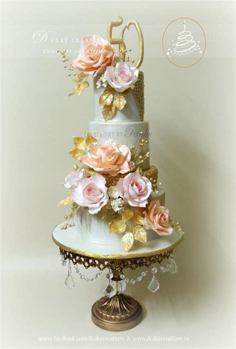 Elegant 50th Golden Wedding Anniversary Cake   Cake by D
