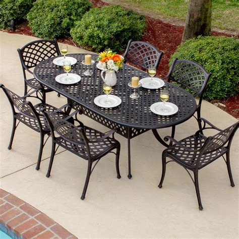 cast aluminum patio dining set heritage 6 person cast aluminum patio dining set with oval