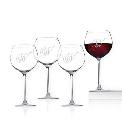 personalized lenox crystal 4 piece beaujolais wine glass set