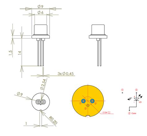pin configuration of diode single mode laser diode 500mw at 1064nm