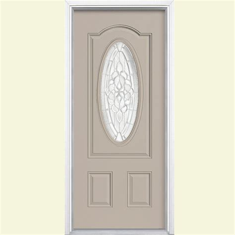 36 X 78 Exterior Door Masonite 36 In X 80 In Oakville Three Quarter Oval Lite Painted Smooth Fiberglass Prehung