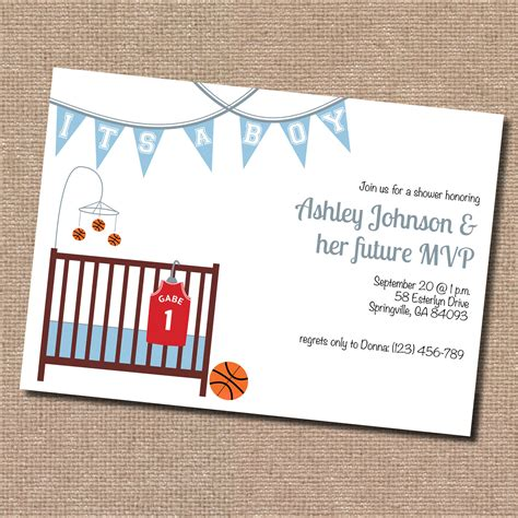 Basketball Baby Shower by Basketball Baby Shower Invitation Digital File By