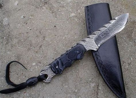 home made knifes cable damascus and home made micarta knives knives