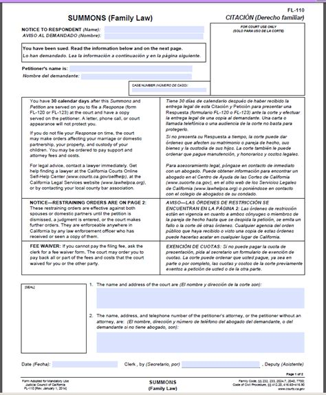 Sle Response Letter Divorce Summons forms to file a separation or divorce in california