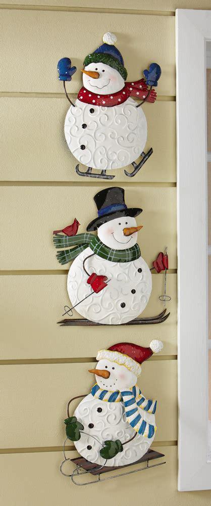 set of 3 winter fun snowmen wall decorations christmas