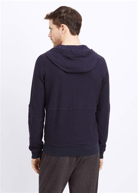 Zipper Hoodie Electronic 03 lyst vince slub cotton thermal zip hoodie in blue for