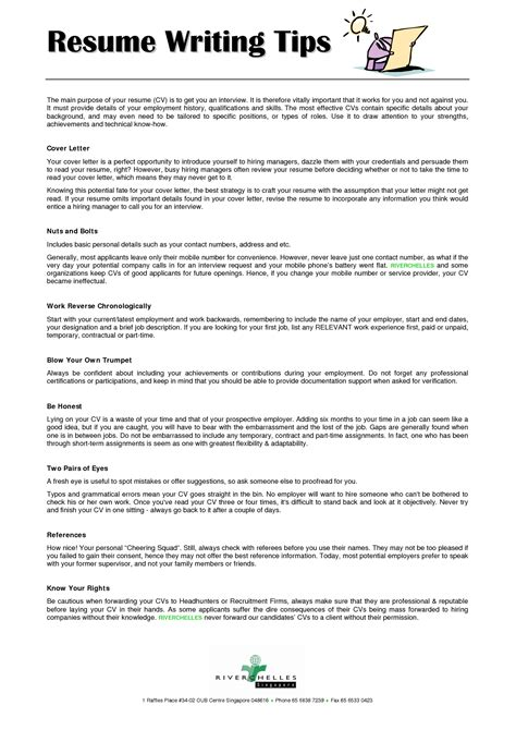 Tips For A Resume by Tips For A Resume All Resume Simple