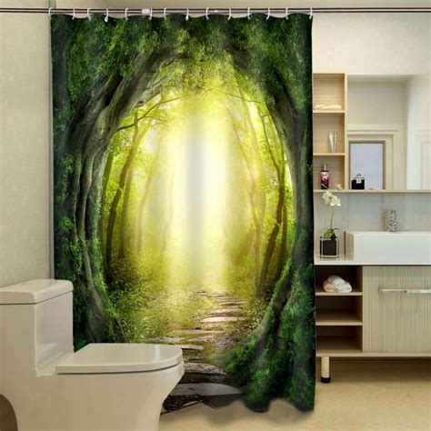 Jungle Blackout Curtains Jungle Shower Curtain 3d Printed Green Trees Blackout Curtains For Shower Room