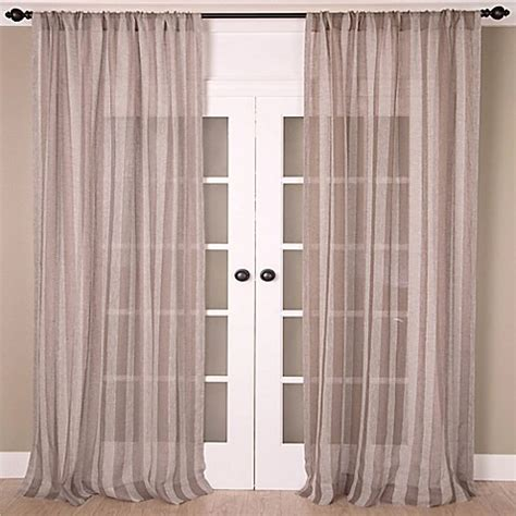 Taupe Striped Curtains Buy Aura 96 Inch Striped Sheer Window Curtain Panel In Taupe Grey From Bed Bath Beyond