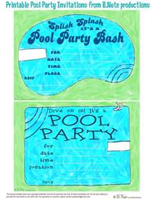 bnute productions free printable pool invitations