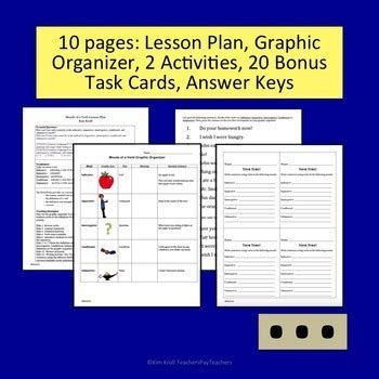 graphic design layout lesson verb moods lesson plus by kim kroll teachers pay teachers