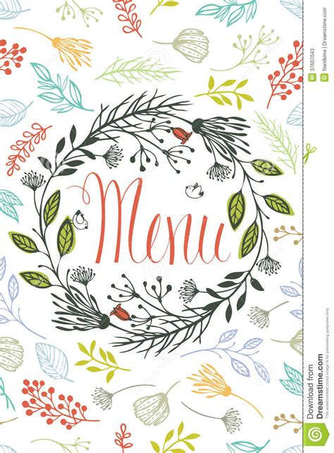design elements in writing cover for menu with floral design elements stock photos