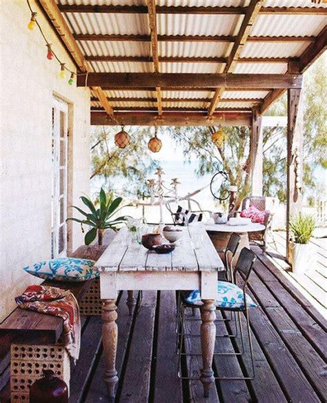 inspiring bohemian porch  colored textiles
