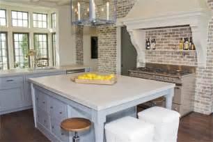 Faux Stone Kitchen Backsplash brick kitchen transitional kitchen har