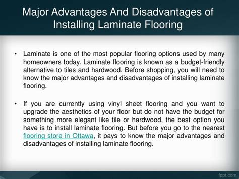 ppt major advantages and disadvantages of installing laminate flooring powerpoint presentation
