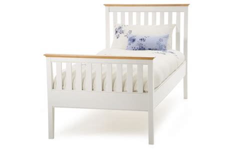 White Wooden Bed Frames Uk Serene Furnishings Grace Golden Cherry With Opal White High Footend Frame From 163 229 Beds Direct