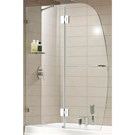 Clear Glass Shower Doors Republic Premium 48 In X 58 In Frameless Pivot Shower Door In Chrome With Shelf