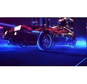Synthwave 1980s Neon DeLorean Car Retro Games