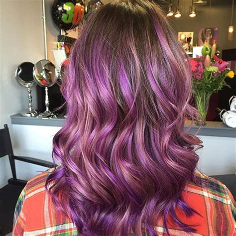 dark brown hair with purple highlights underneath 2015 4 most exciting shades of brown hair