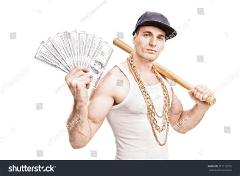 Big Thug thug gold chain around his neck stock photo 281918255