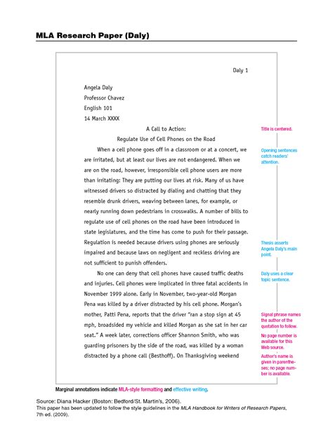 mla research paper template best photos of mla format sle paper mla format
