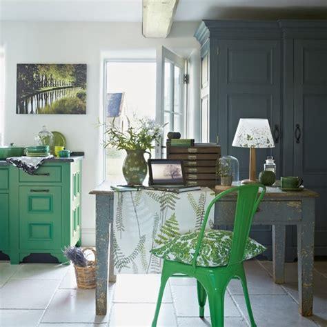 green and grey kitchen green and grey kitchen diner with leaf print fabrics