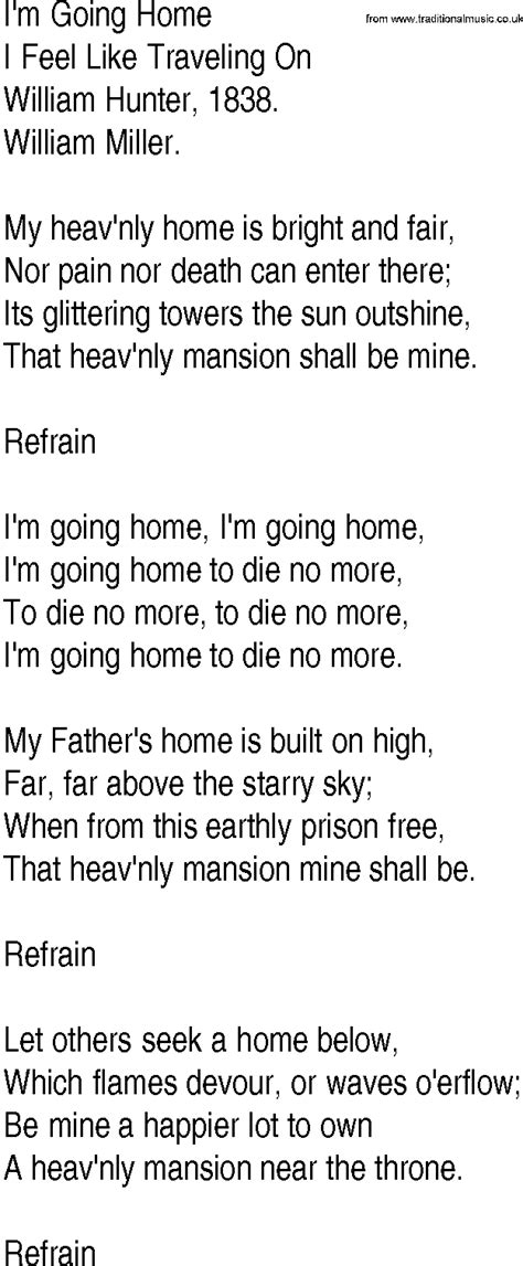 hymn and gospel song lyrics for i m going home by william
