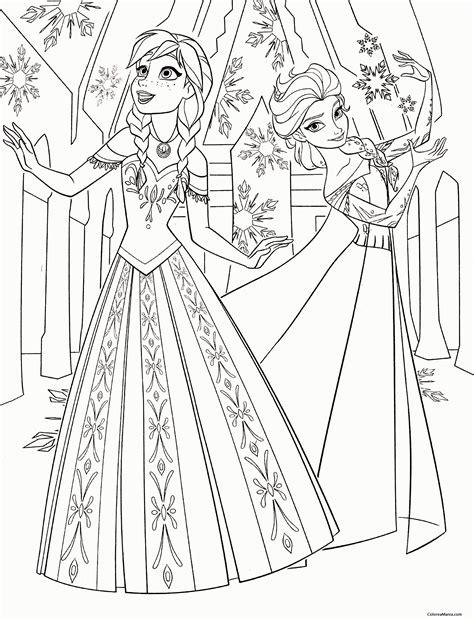 dibujos para colorear de elsa y anna frozen princesas disney colorear anna y elsa bailando frozen dibujo para