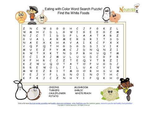printable word search healthy eating rainbow foods find the healthy white foods word search