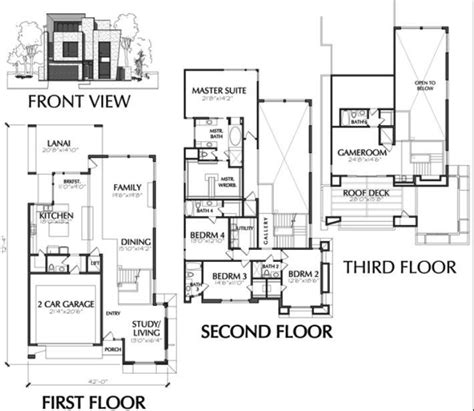 Townhouse Floor Plans With Garage | town house plans modern luxury modern townhouse floor