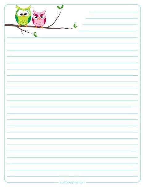 printable owl note paper owls lined stationary borders stationary animals