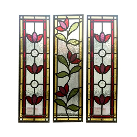 stained glass panels floral nouveau stained glass panels from period home style