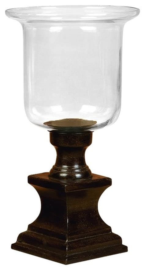 Glass Pedestal Candle Holders Hurricane Candle Holder Glass Casing Wood Pedestal