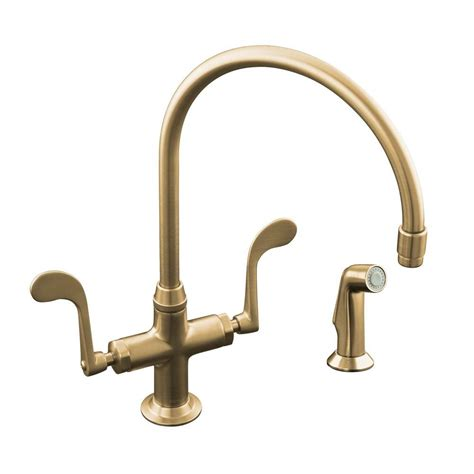brushed bronze kitchen faucets kohler essex 2 handle standard kitchen faucet with side sprayer in vibrant brushed bronze k 8763