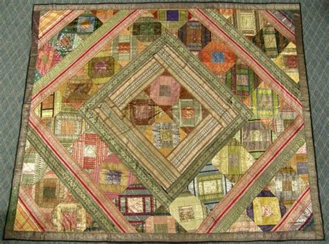 Silk Patchwork Quilt - large 1960 silk patchwork quilt of india fabric