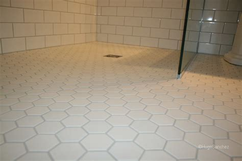 Hexagon Tile Bathroom Floor by Hexagonal Shower Floor Tiles Traditional Bathroom Montreal By Ceramiques Hugo Inc