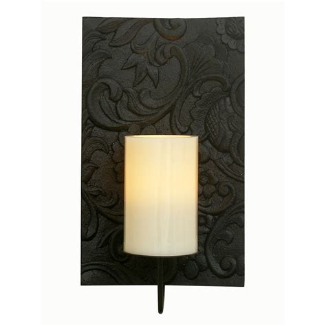 Flameless Wall Sconces Solstice Flameless Candle Sconce With Flameless Candle Black Floral