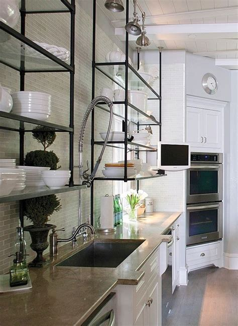 glass shelves for kitchen cabinets 30 shelf designs for every room in your home farmhouse