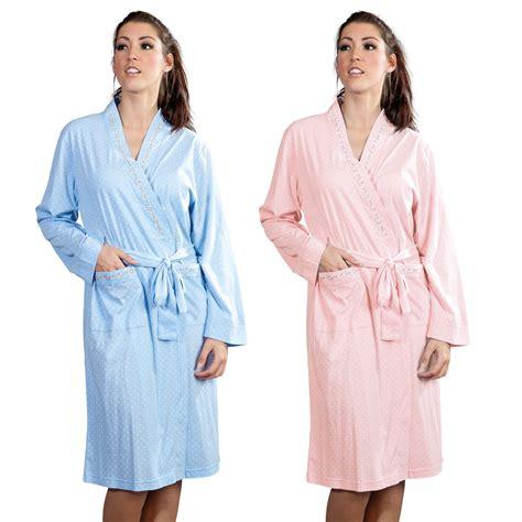 jersey robe pattern womens ladies nightwear dot print embroidered jersey bath
