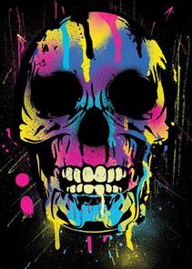 colorful skeleton cool colorful skull with paint splatters and drips digital
