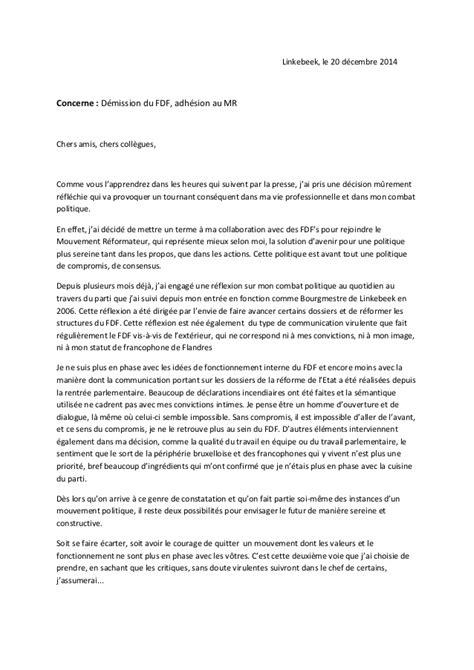 Mod Les De Lettre De D Mission Avec Pr Avis la lettre de d 233 mission de damien thi 233 ry