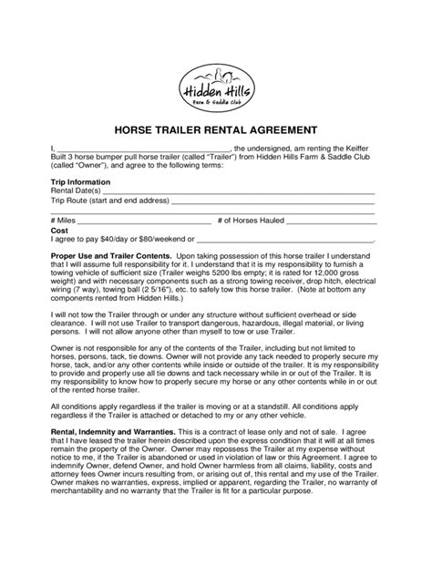 Trailer Rental Agreement 6 Free Templates In Pdf Word Excel Download Desk Rental Agreement Template