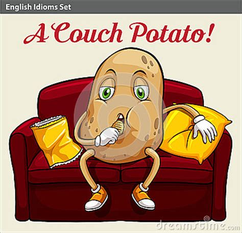 couch potato idiom a couch potato stock vector image 50510258
