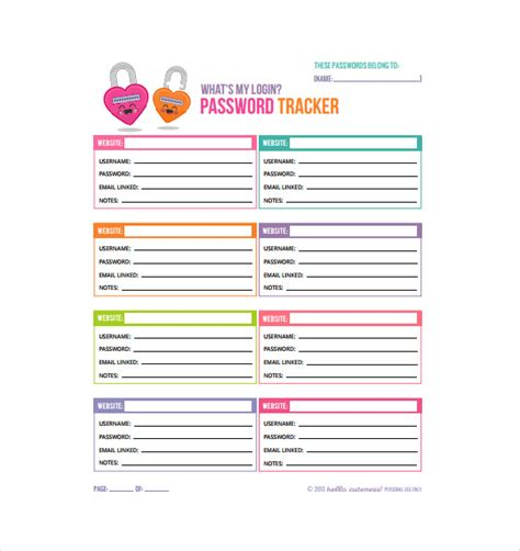 username and password template 9 password spreadsheet templates free word excel pdf