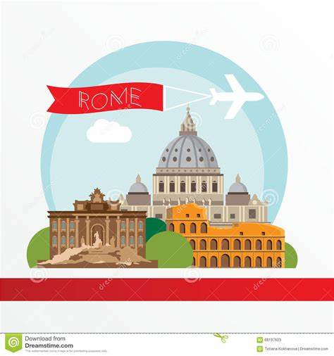 rome clipart rome detailed silhouette trendy vector illustration flat