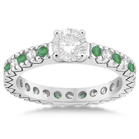 emerald pave eternity engagement ring 14k white